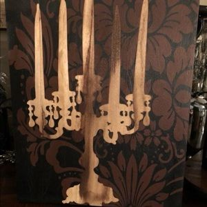 Other - Gorgeous Candle Stick Damask Wall Art
